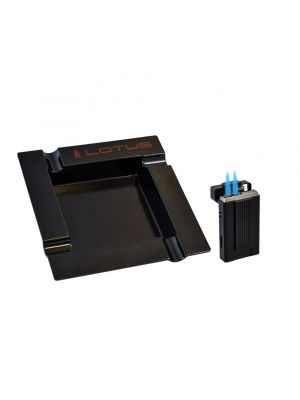 Lotus Ambassador Lighter and Ashtray Gift Set Black Matte