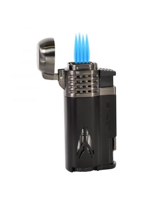 Lotus Defiant Quad Torch Lighter with Punch Black